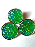 20pairs per lot , Faux Druzy Stone Stud Earrings for Women and Teens (Green)
