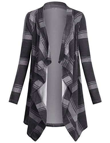 (Miusey Cardigans for Women Ladies Long Sleeve Shawl Collar Checkered Knitted Sweatshirts Cotton Geometric Floral Print Patterned Chambray Dreped Knitwear Kimono Wrap Sweater Coverup Coat Black)
