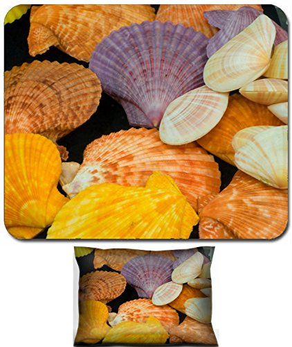 Liili Mouse Wrist Rest and Small Mousepad Set, 2pc Wrist Support IMAGE ID: 7886585 Pecten Nobilis Reeve color shellfish