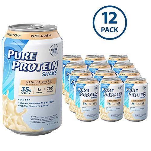(Pure Protein Ready to Drink Shakes, High Protein Vanilla Cream, 11oz, 12 count )