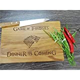 GAME of THRONES cutting board. Dinner is Coming Khaleesi. House Stark. Laser Engraved Cutting Board. Handmade cutting board. Gift for boyfriend. Gift for groomsman