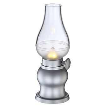 LED Tisch Lampe Dimmbar Retro Design Akku Sturm Leuchte Silber Wohnzimmer Beleuchtung Globo 28015 12