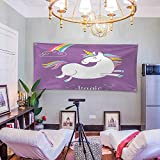Polyester Fabric Wall Decor (60W x 51L Inch) Wall Hanging Bedroom Living Room Dorm Home Decor TapestryUnicorn Home Kids Decor Mythical Animal Clouds Rainbow Figure Fairy Image Purple WHI