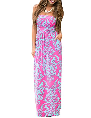 Leadingstar Women Strapless Maxi Vintage Floral Print Graceful Party Long Dress