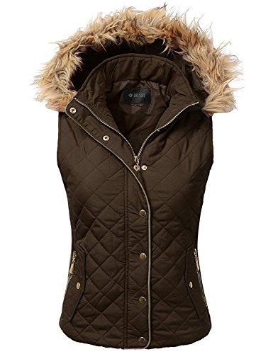 音楽家ブロッサム長さ[(ドレス) DRESSIS] [Womens Quilted Fur Hoodie Padding Vest ] (並行輸入品)