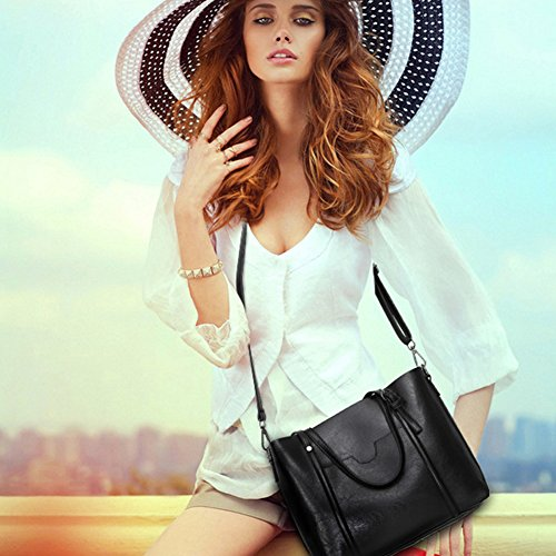 Flada Ladies Tote PU Bag Casual Coffee Black Leather Vintage Bags Shoulder Women's 4nq4TrwAx1