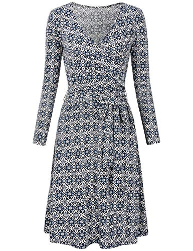 Wrap Long Sleeve Spandex (SUNGLORY Elegant Dress, Women's Slimming Long Sleeve Fit-and-Flare Crossover Tummy Control Dres Blue&White S)