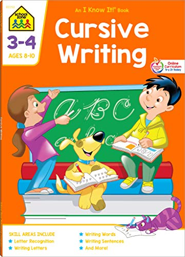School Zone - Cursive Writing Workbook - 64 Pages, Ages 8 to 10, Grades 3 to 4, Practice Handwriting, Tracing, Letters, Words, Sentences, and More (School Zone I Know It!® Workbook Series)]()