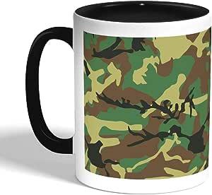 كوب سيراميك للقهوة بتصميم لباس الجيش، اسود