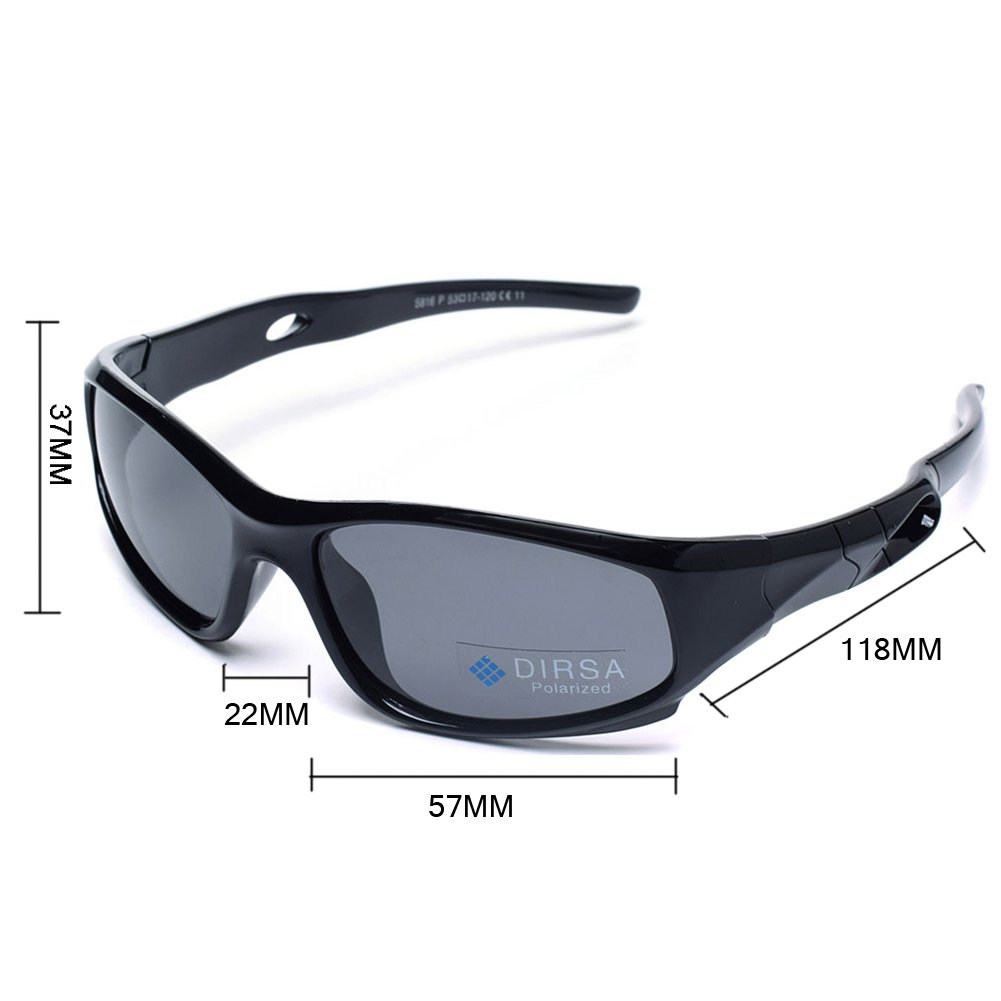 8a877e34b2 Amazon.com  Kids Sports Style Polarized Sunglasses Rubber Flexible Frame  UV400 For Boys Girls Child Age 3-10 (Black Black