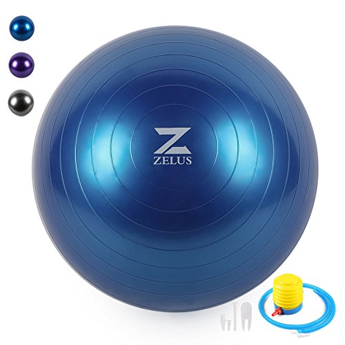 ZELUS Exercise Ball 65cm/75cm Yoga Balance Ball with Free Pump, Anti-Burst Stability Ball for Yoga, Balance, Fitness, Strength Exercise, Desk Chairs (Blue, 75cm)