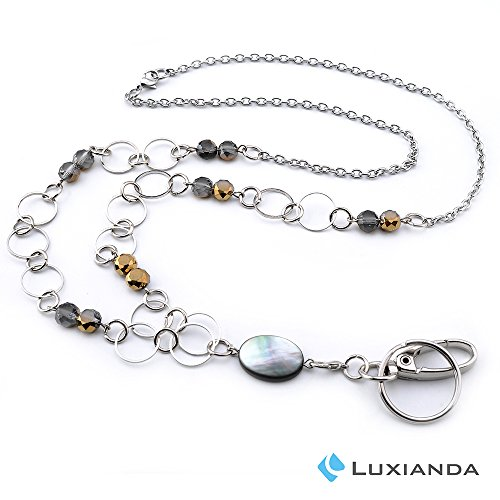 LUXIANDA Simplicity ID Necklaces ID Balled Beads Lanyards for Keys ID Badge Holder Stainless Steel Chain