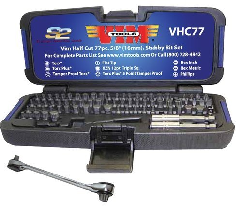 Low Profile Torx Socket - VIM Tools VHC77 '77-Piece' Half Cut Stubby Bit Set