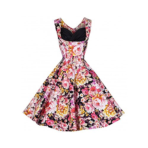 Ecollection Damen Audrey Hepburn 50s Retro Pink Flower vintage Bubble Skirt Rockabilly Swing Evening Kleid