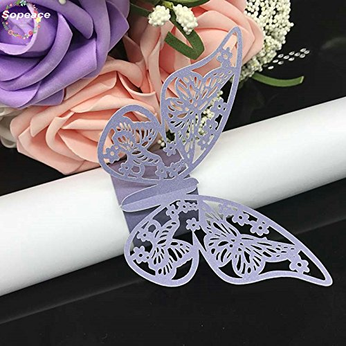 (Set of 50 Butterfly laser cut paper napkin Rings Holders Party Wedding Favors for bodas Table Decoration (Lavender))