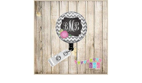 BR0107 Pink Mum Grey Glitter Chevron Button Badge Reel Floral Chrysanthemum Monogram Personalized