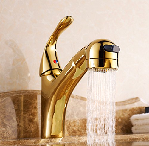 Chrome Polished Pull Out Sprayer Bathroom Sink Faucet One Hole Mixer Tap      Amazon.com