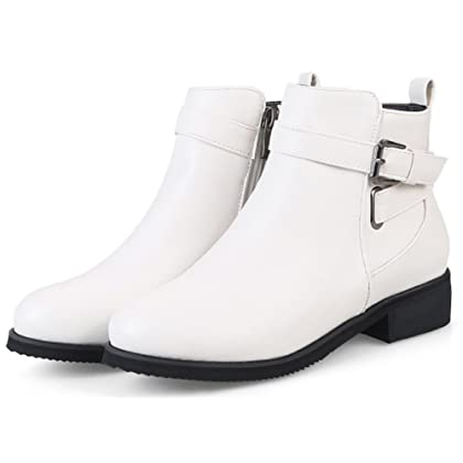 0cf8ec9804cf ... Aisun Women s Buckle Strap Inside Zip Up Stylish Round Toe Ankle Boots  Booties Chunky Low Heel ...
