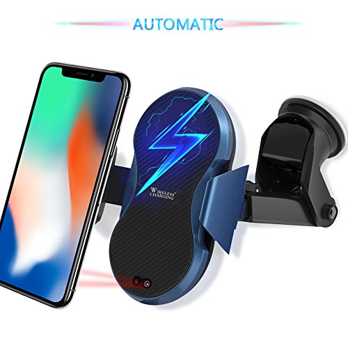 Wireless Car Charger, Automatic Qi Wireless Dashboard Car Mount Wireless Charger Phone Holder 7.5W for iPhone X/8/8 Plus, 10W for Samsung Galaxy S9/S9+/Note 8/S8/S8 Plus, 5W for All QI standard Device by TopMoon