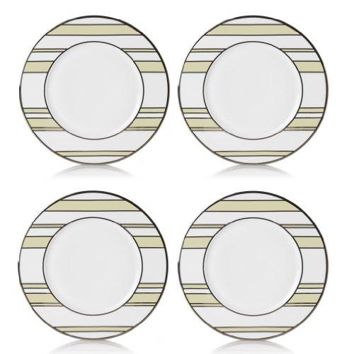 Mikasa Color Studio Ivory-Platinum Stripes Set of 4 Accent Plates