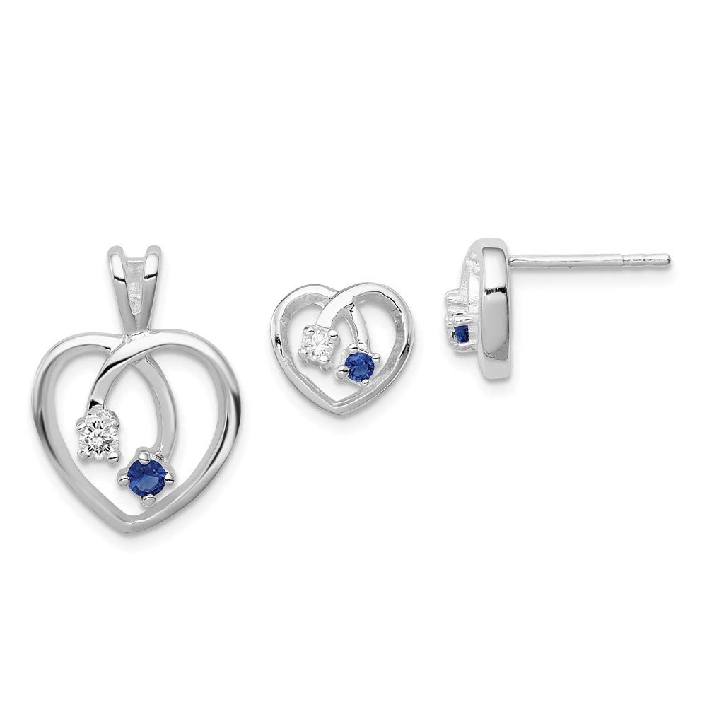 Sterling Silver Themed Jewelry Button Sets 9 mm 9 mm Blue Clear CZ Heart Earring Pendant Set