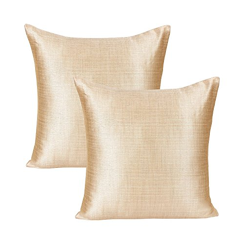 The White Petals Cream Throw Pillow (Set of 2 Covers, Faux Raw Silk, Cream, 18x18 inches)
