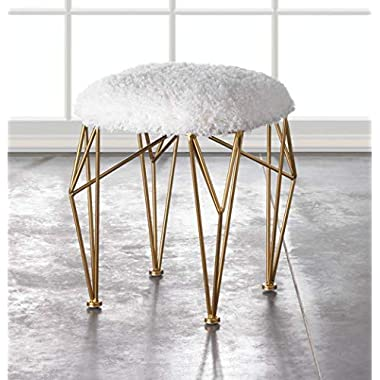 White Faux Fur Ottoman Makeup Vanity Stool Contemporary Shaggy Stools, Mongolian Round Metal Walk in Closet Bench Seat, Fake Furry Modern Geo Accent Iron Stools Trendy Geometric Gold Legs