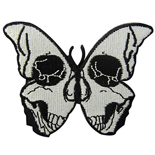 The Skull Butterfly Embroidered Badge Iron On Sew On Patch -