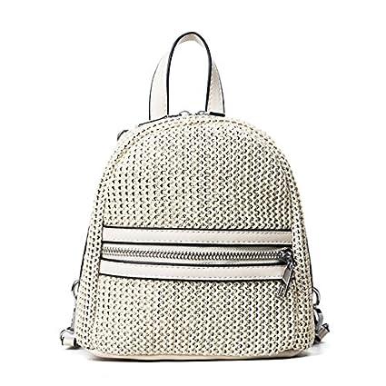 BAGEHUA paja hembra mini mochila bolsa pequeña bolsa bolsa de playa tejidas a mano de color caqui de tejer: Amazon.es: Hogar