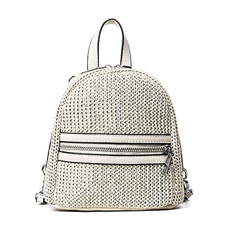 BAGEHUA paja hembra mini mochila bolsa pequeña bolsa bolsa de playa Tejidas a Mano Negra de tejer: Amazon.es: Hogar