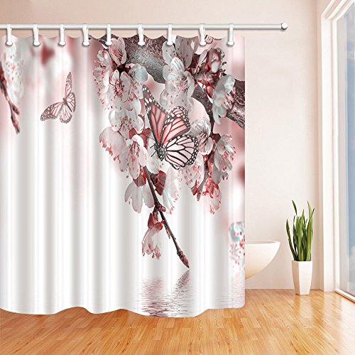 NYMB Flower Decor Peach Blossom with Butterfly Flying Shower Curtain 69X70 inches Mildew Resistant Polyester Fabric Bathroom Fantastic Decorations Bath Curtains Hooks Included (Peach Blossom Shower)
