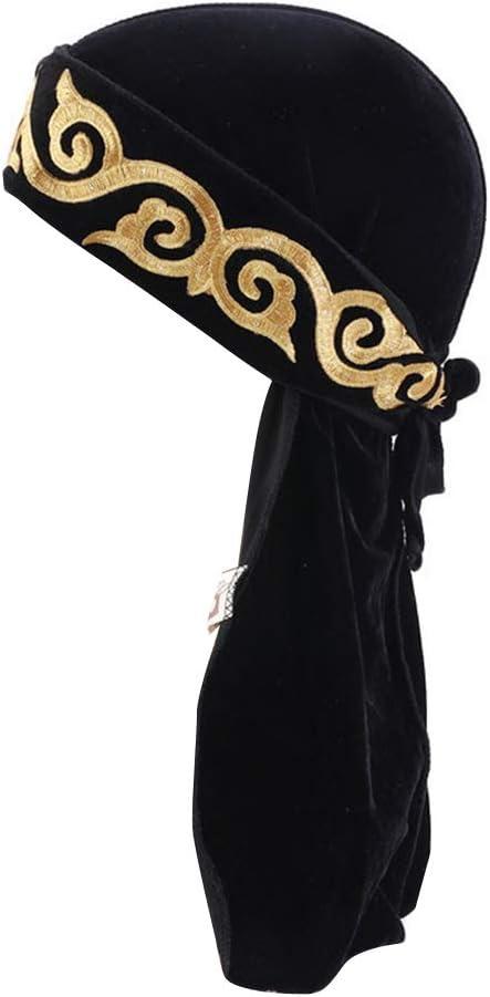 TININNA Velvet Durag Piraten Cap Kopftuch Long Tail Headwraps Piratenhut Outdoor Radfahren Sport Bandana Hut Beanie Muslim Turban Hut