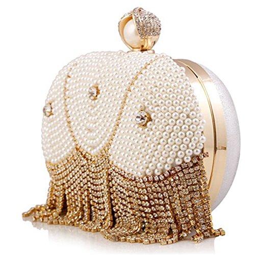 ERGEOB® Damen Clutch Abendtasche Handtasche Clutch Kleine Perlen Diamant Fringedtasche Brauttasche Hochzeittasche 523Weiß