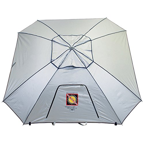 RIO BEACH 9 Ft. Extreme Shade Total Sun Block Beach Umbrella Shelter w/Window & Anchor – Silver
