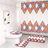 CqmzpdiC Bohemian Style Bathroom Shower Curtain Toilet Cover Non-Slip Floor Mat Rug Set Soft Water-Absorption Durable Mildew Resistant Comfortable Practical Easy Washing Bathroom Decor 4pcs