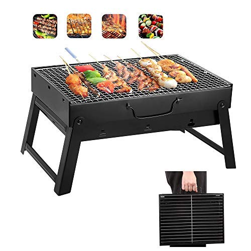 Yahpetes Portable Charcoal Grill 13.78″ Folding BBQ Barbecue Folding Barbecue Rack Wire Meshes Portable Household Charcoal Grills for Outdoor Grilling