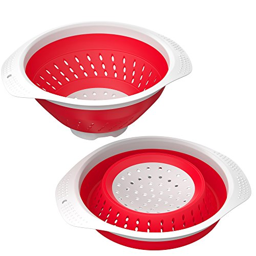 Collapsible Strainer - Vremi 5 Quart Collapsible Colander - BPA Free Silicone Food Strainer with Plastic Handles - Heavy Duty Foldable Heat Resistant Pasta and Veggies Kitchen Drainer Steam Basket - Dishwasher Safe - Red