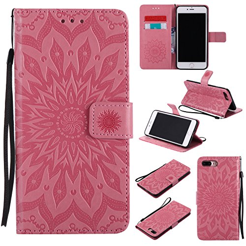 Price comparison product image iPhone 7 Plus Wallet Case,A-slim(TM) Sun Pattern Embossed PU Leather Magnetic Flip Cover Card Holders & Hand Strap Wallet Purse Case for iPhone 7 Plus [5.5 Inch] - Pink