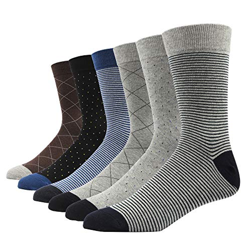 SOXART Men's Dress Socks 6-Pack Classic Cotton Solid & Patterned for Business L:US Shoe Size 8-12 / Sock Size 10-13