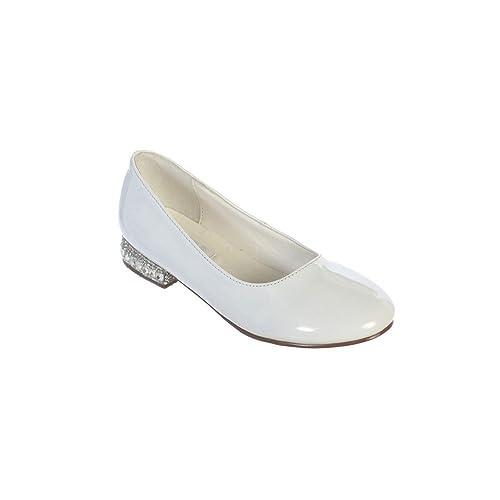 Girls White Glitter Rhinestone Jeweled Heel Patent Leather Flats 11-5 Kids