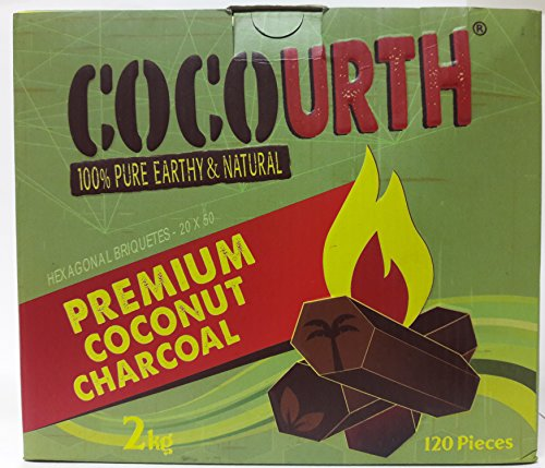 Hookah Natural Coconut Charcoal 120 Pieces HEXAGONS Coco Urth 2 Kilo Shisha Coal by CocoUrth