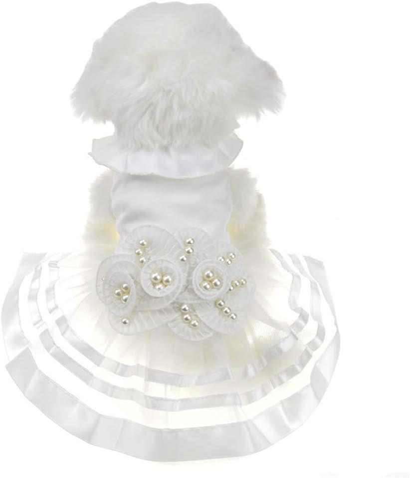 Perla Blanca Perro Perro De Perro Arco Vestido Gato Mascota Falda ...