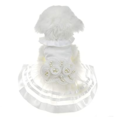 FLAdorepet White Pearl Flower Dog Puppy Luxury Bow Dress Pet Cat Tutu Skirt Princess Wedding Dress Dog Chihuahua Clothes Bride Costume