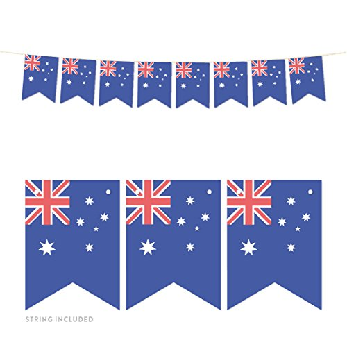 Andaz Press Global World Flag Party Collection, Hanging Paper Pennant Banner with String, Australia, Approx. 5-Feet, Decorations