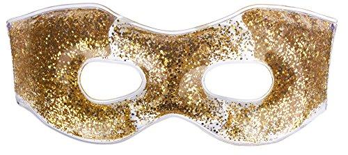 Gold Glitter Gel Hot and Cold Masquerade Compress Eye Mask + Travel Bag