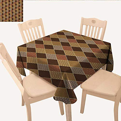 longbuyer Earth Tones Outdoor Picnics Lozenge Pattern in Patchwork Style Striped and Floral Rhombus Brown Shades Summer Table Cloths Brown Yellow W 36