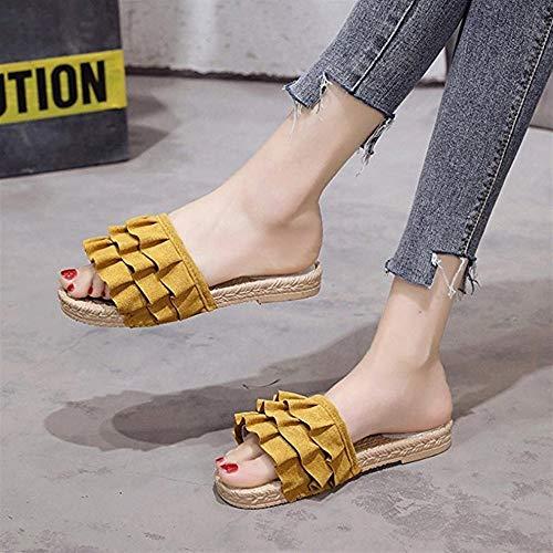 Color única Znyo para Color bajo tacón de Amarillo sólido Toe Yellow Mujeres de Zapatilla Yellow Peep tamaño Talla 7aHx7Fn