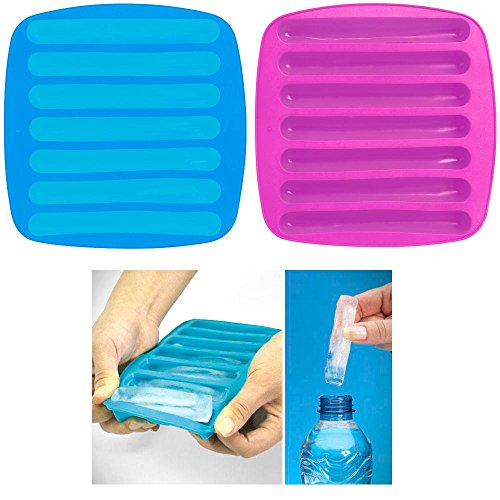 2 Ice Maker Stick Tray Water Drink Sport Bottle Tube Sili...