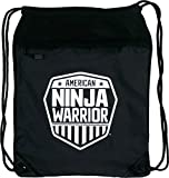 Cheap American Ninja Warrior White Shield Polyester Drawstring Cinch Backpack, Black