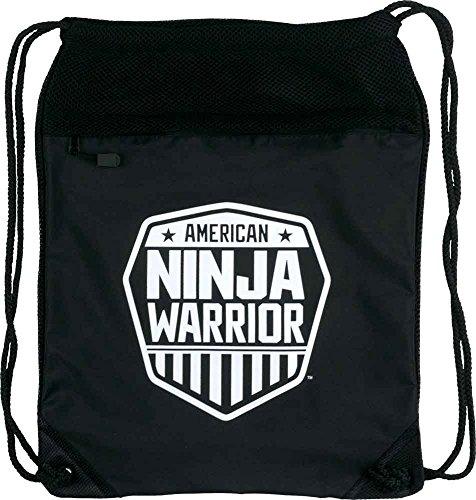 Cheap American Ninja Warrior White Shield Polyester Drawstring Cinch Backpack, Black